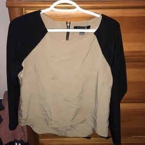 Nude and black long sleeve shirt, size small